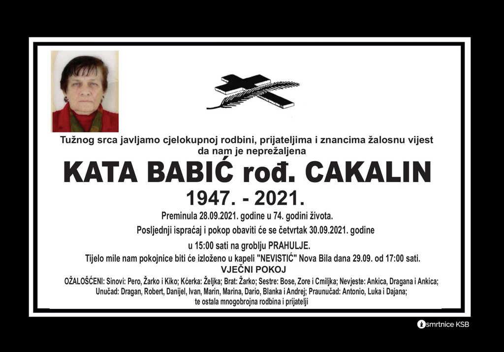 Preminula Kata Babić
