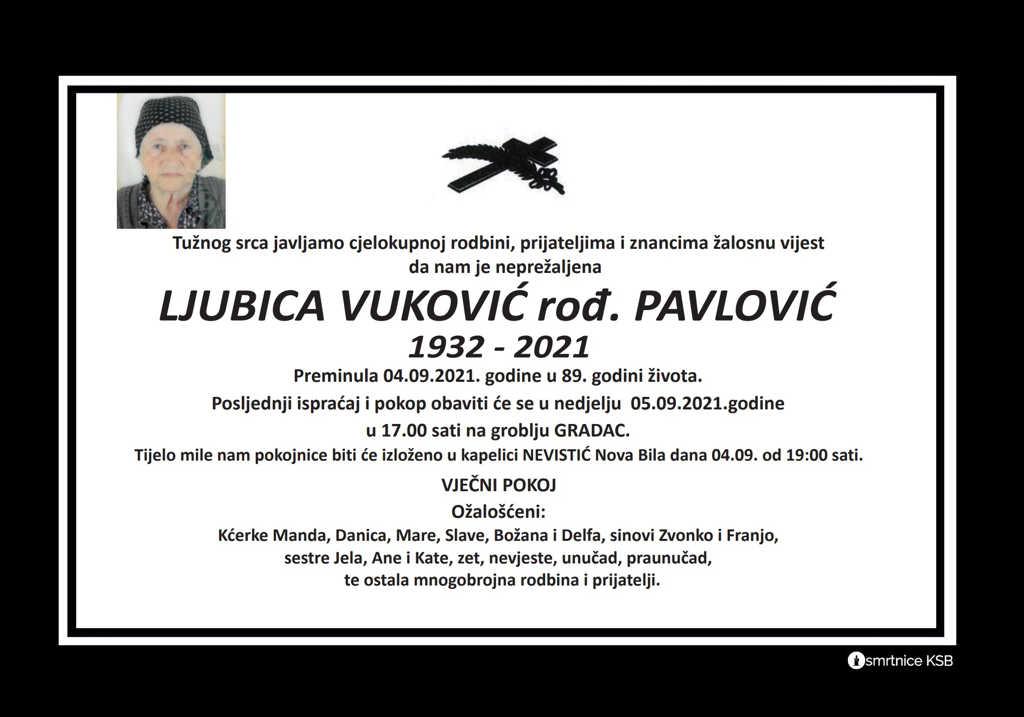 Preminula Ljubica Vuković