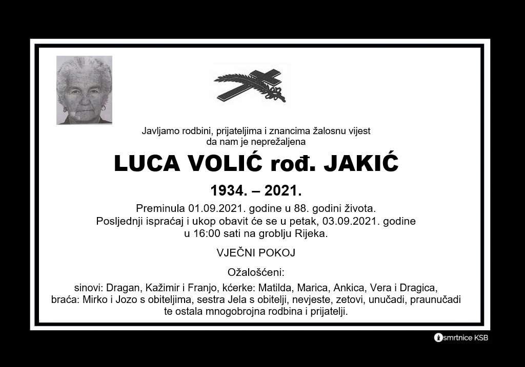 Preminula Luca Volić