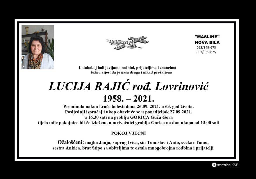 Preminula Lucija Rajić