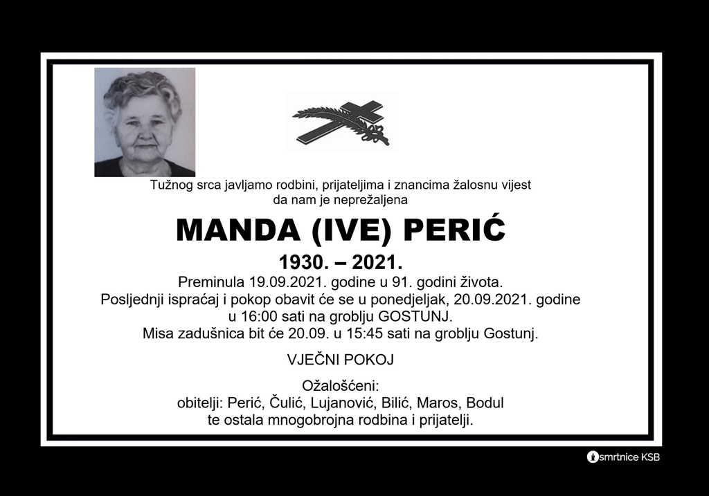 Preminula Manda Perić