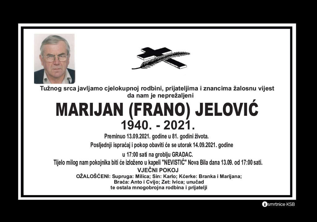 Preminuo Marijan Jelović