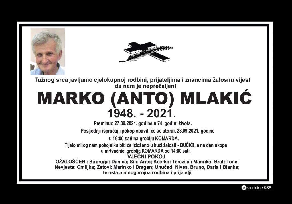 Preminuo Marko Mlakić