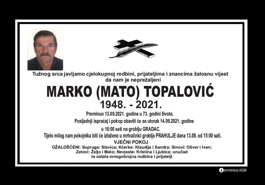 Preminuo Marko Topalović