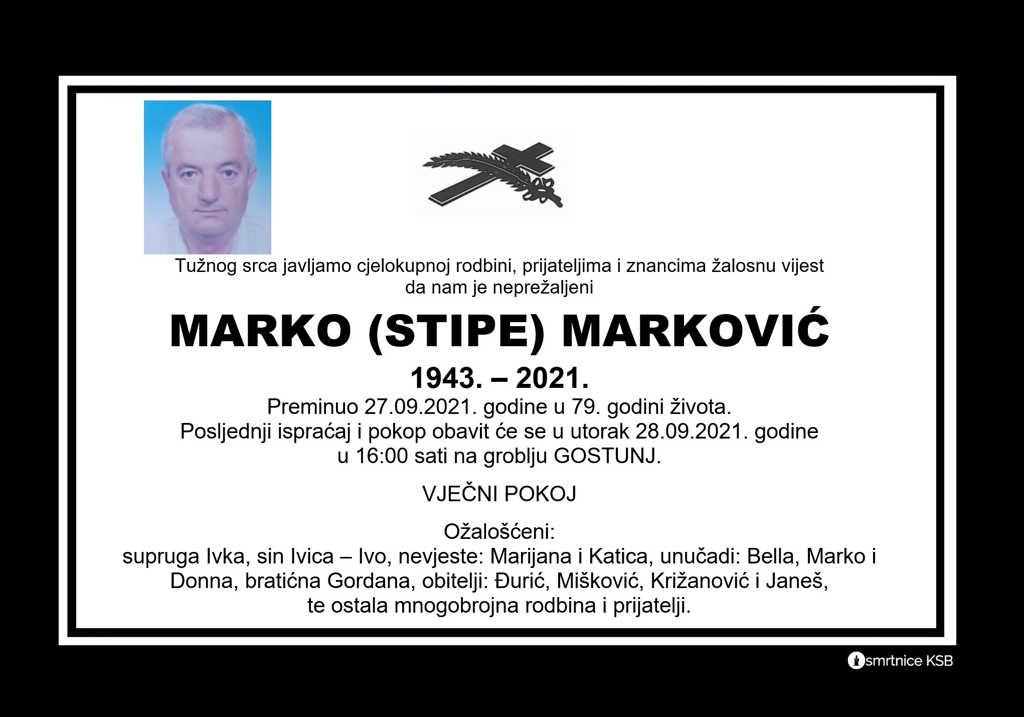 Preminuo Marko Marković