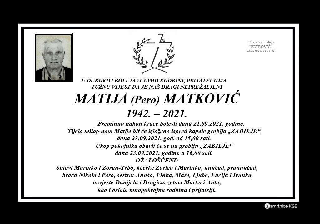 Preminuo Matija Matković