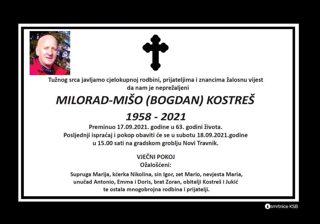Preminuo Milorad - Mišo Kostreš