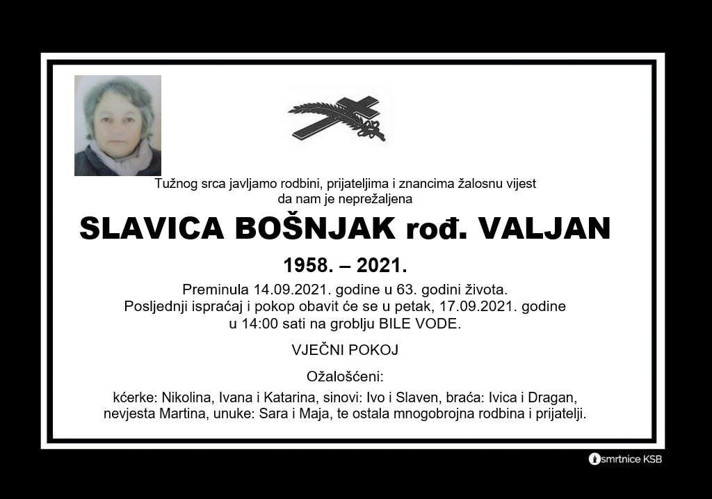 Preminula Slavica Bošnjak