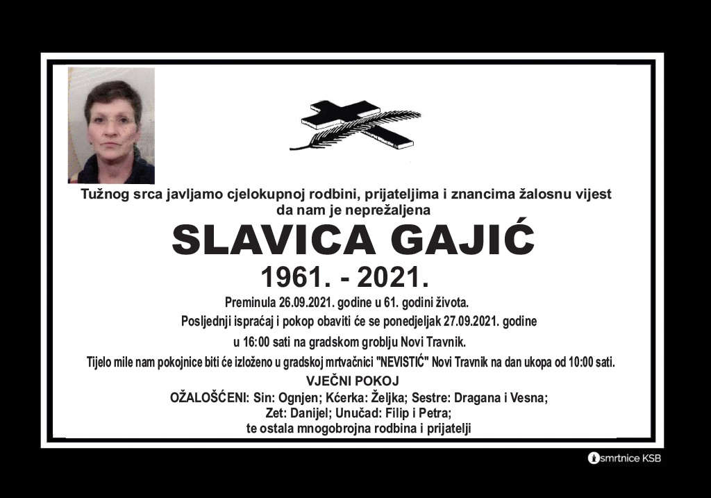 Preminula Slavica Gajić