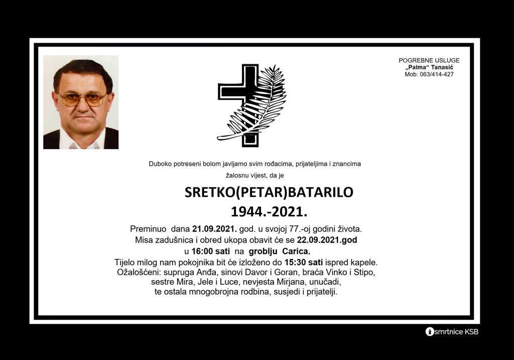 Preminuo Sretko Batarilo