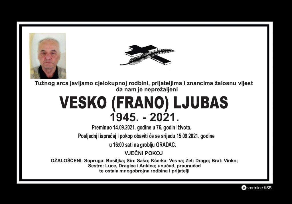 Preminuo Vesko Ljubas