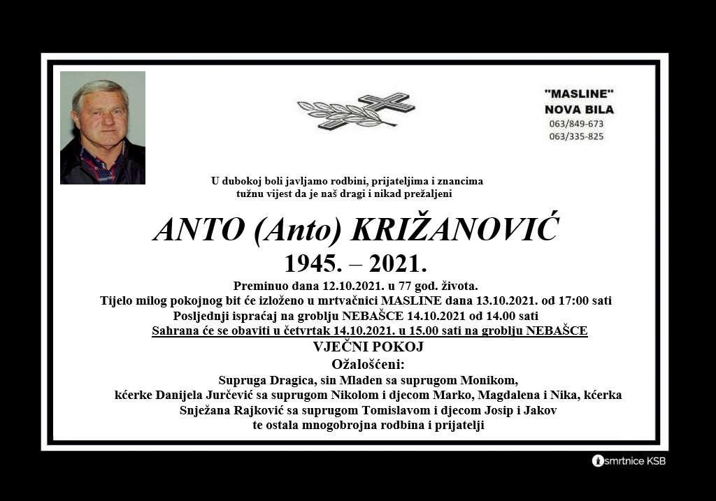 Preminuo Anto Križanović