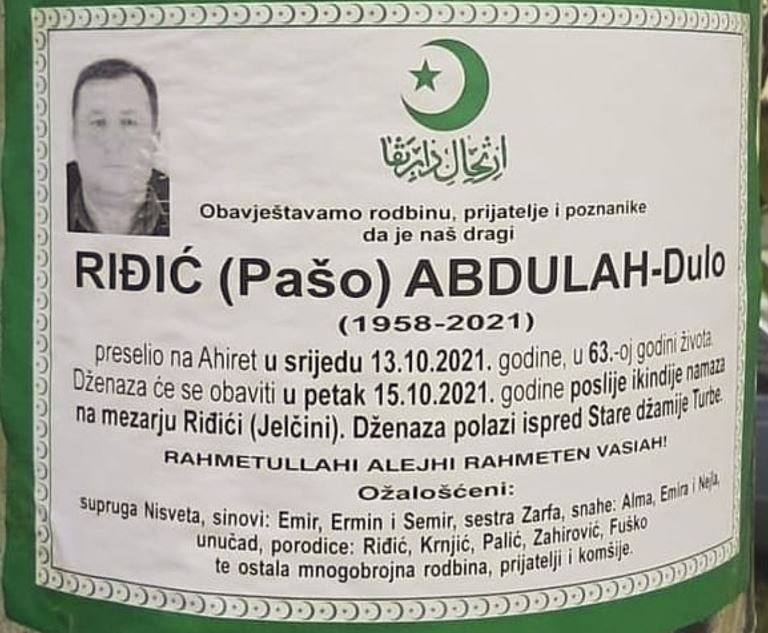 Preminuo Abdulah-Dulo Riđić