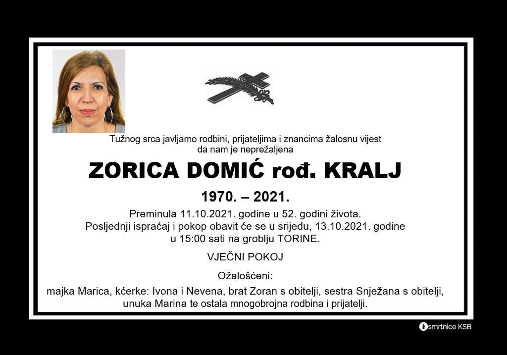 Preminula Zorica Domić